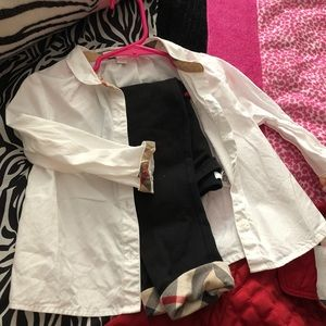 Gently used Burberry leggings and blouse